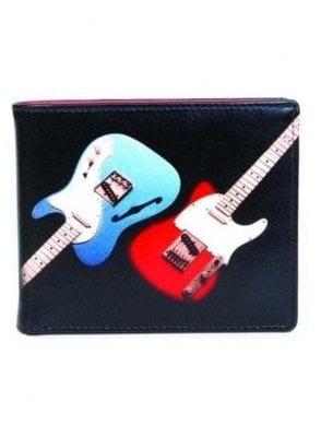 Retro Gents Guitar Print Notecase Wallet Black