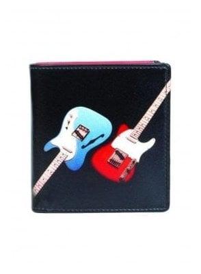 Retro Guitar Print Gents Wallet Black