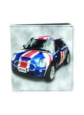 Retro Mini Flag Car Print Wallet Grey