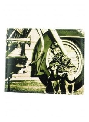 Retro Motor Bike Dogs Print Gents Notecase Wallet Black/grey