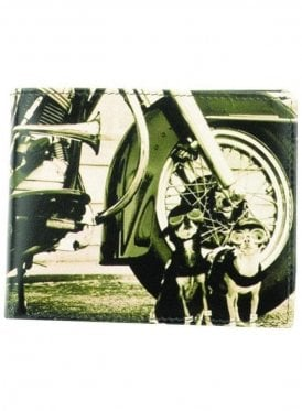 Retro Motor Bike Dogs Print Gents Notecase Wallet Black/grey