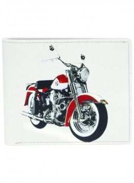 Retro Motor Bike Print Wallet Cream
