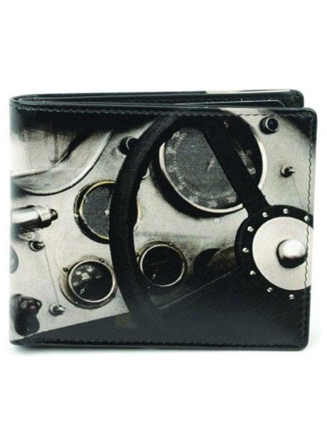 GOLUNSKI Retro Vintage Steering Wheel Print Gents Notecase Black
