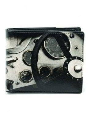 Retro Vintage Steering Wheel Print Gents Notecase Black