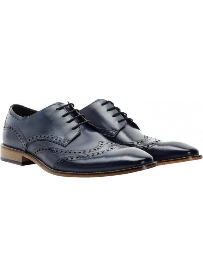 GOODWIN SMITH Gisburn Leather Brogue Shoe Navy