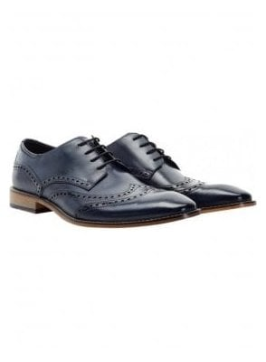 Gisburn Leather Brogue Shoe Navy