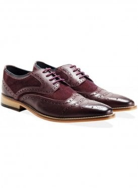 Suede Leather Lace Up Shoe Bordo