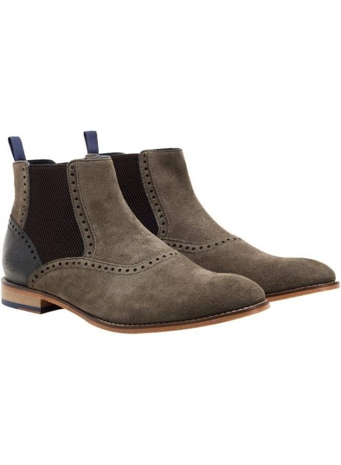 GOODWIN SMITH Whalley Chelsea Suede Boot Khaki/grey