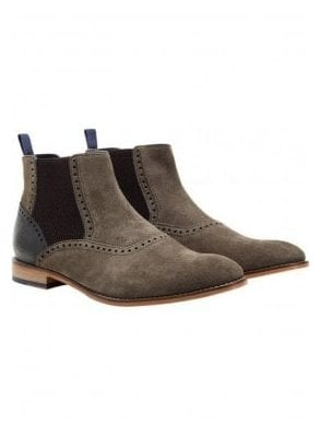 Whalley Chelsea Suede Boot Khaki/grey