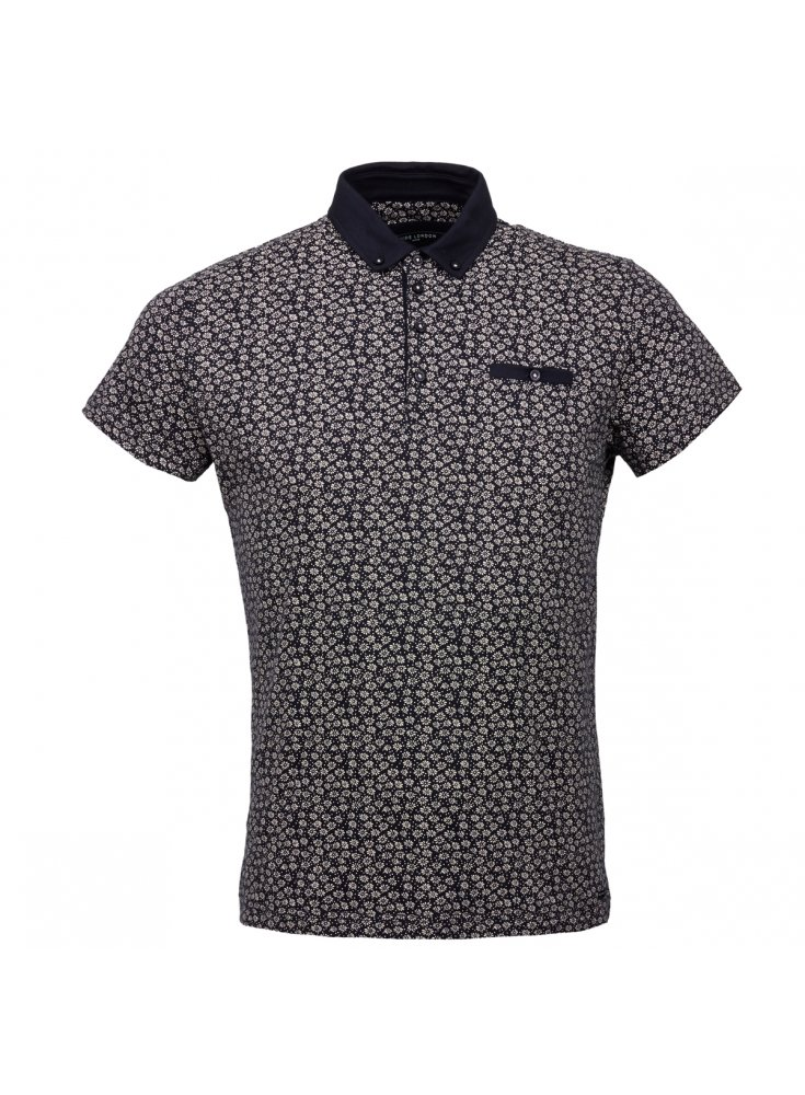 Guide floral design polo t shirt navy aw15 for Polo t shirt design images