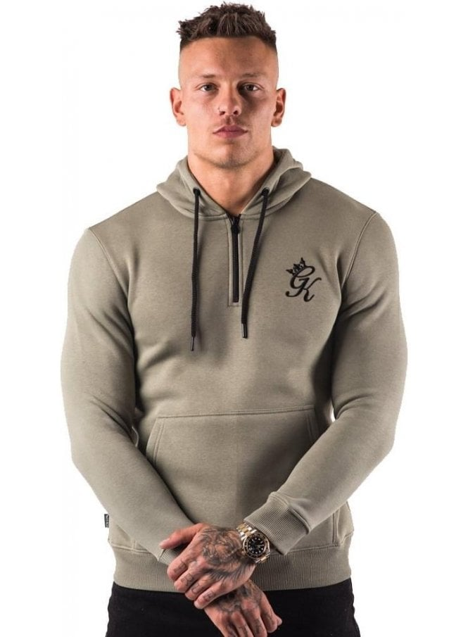 GYM KING Barksdale 1/4 Zip Hooded Top Sage