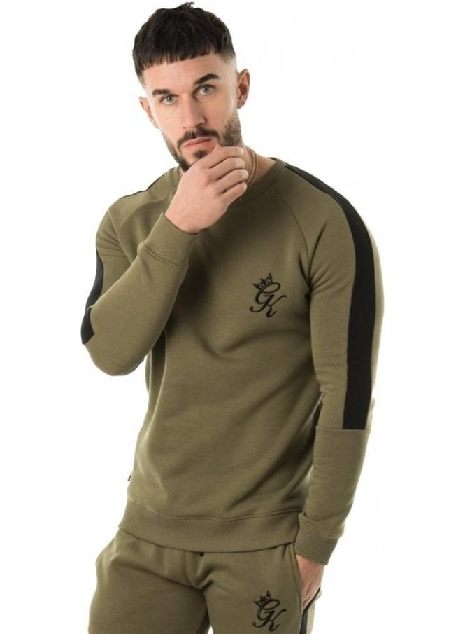 GYM KING Crew Sweater With Stripe Burnt Olive