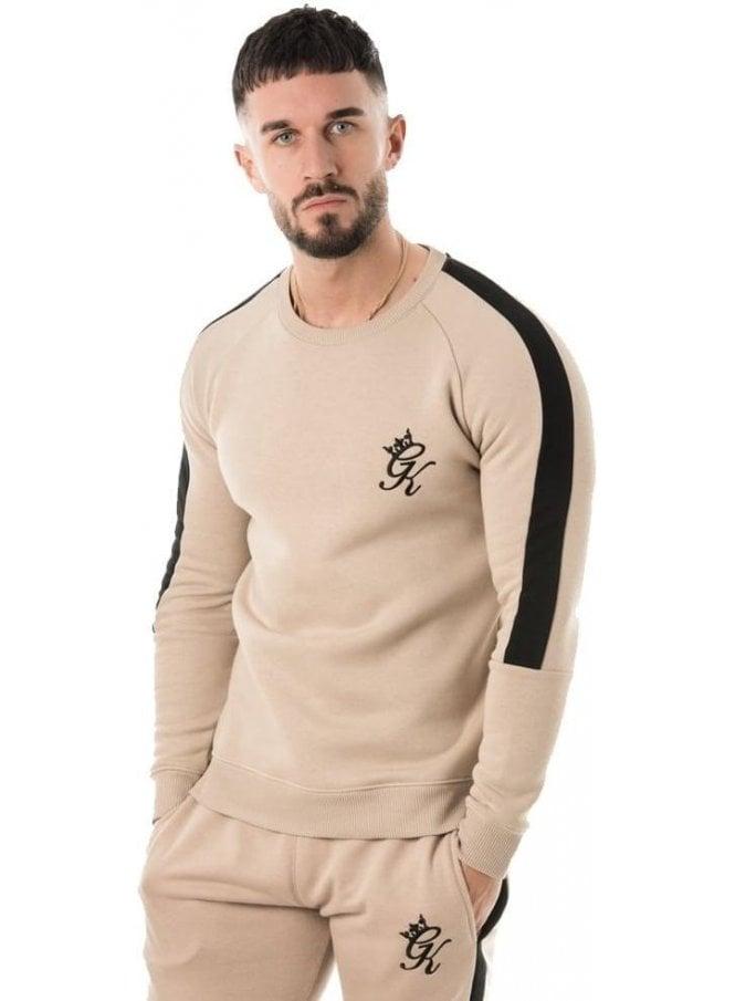GYM KING Crew Sweater With Stripe Mocha Black