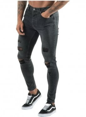 Distressed Denim Skinny Jean Dark Grey
