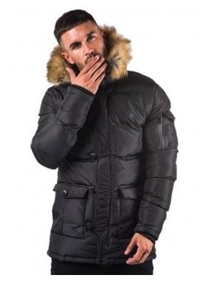 Fur Collar Zip Off Hooded Parka Black
