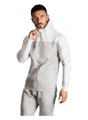 GK Capo Panel Poly Tracksuit Top - Grey Marl/White
