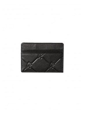 Gk Diamond Embossed Leather Card Holder - Black
