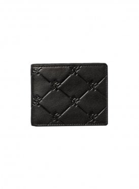 Gk Diamond Embossed Leather Wallet - Black