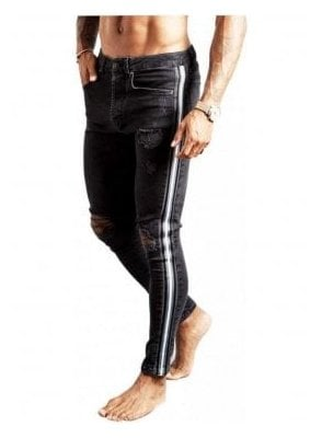 Gk Skinny Denim Jean Rip & Repair With Stripe - Black 001
