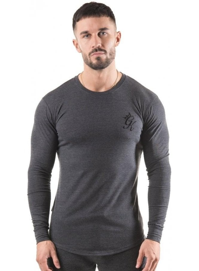 GYM KING Long Sleeved Undergarment Top Charcoal Marl