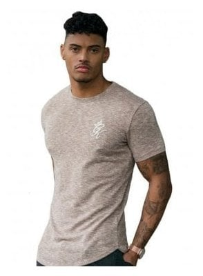 Gym King Longline Knit Curve Hem Tshirt Nomad Marl
