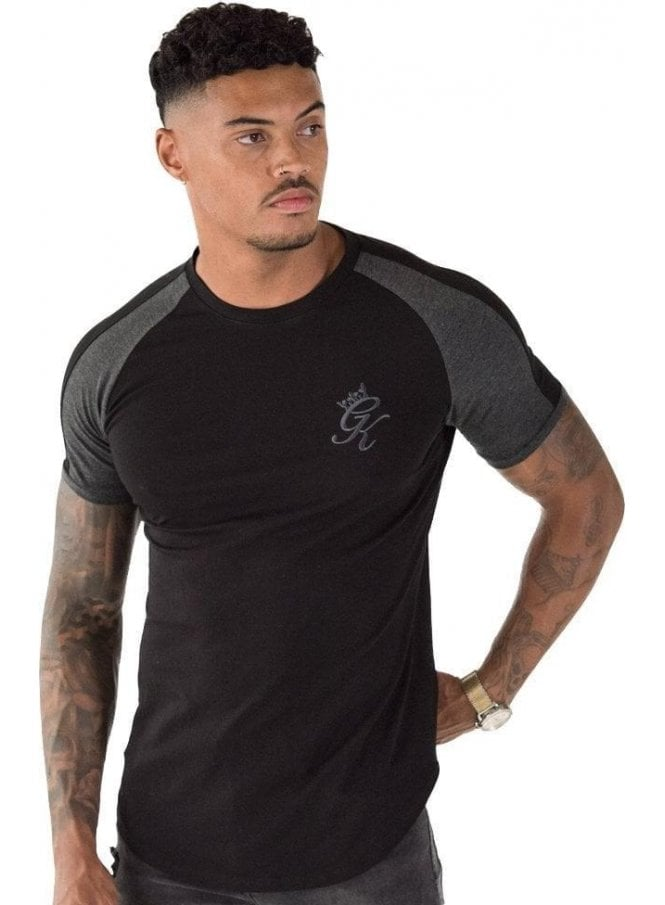 GYM KING Longline Retro T-Shirt Black/Charcoal/Marl