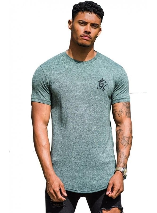 GYM KING Longline Salt & Pepper Tshirt Aqua
