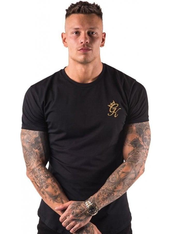 GYM KING Longline Tshirt Black/gold