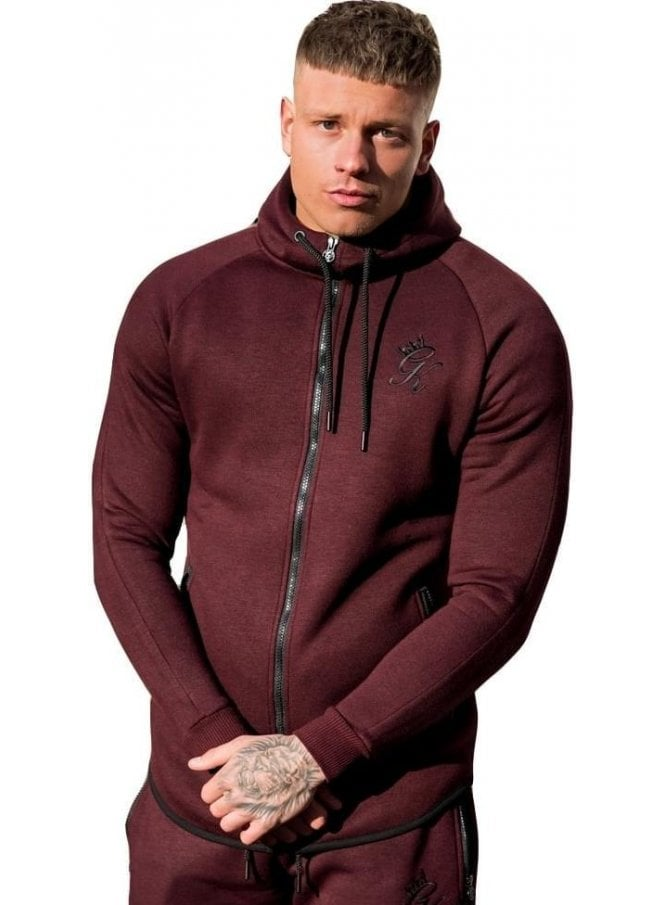 GYM KING Performance Fleece Zip Through Salt & Pep Cordovan
