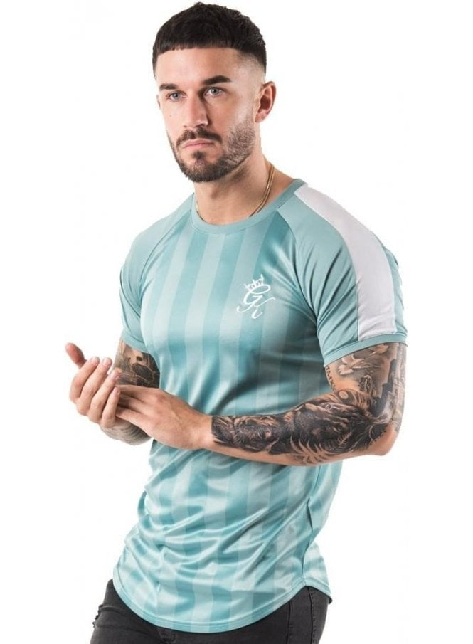 GYM KING Poly Stripe Tee Shirt Mineral Blue