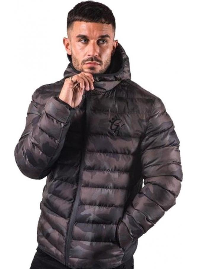 GYM KING Puffa Camo Design Print Jacket Black Camo