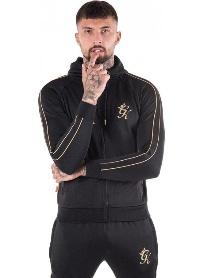 GYM KING Reflective Lester Poly Tracksuit Top Black & Gold