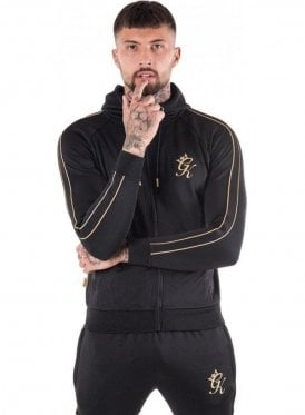 Reflective Lester Poly Tracksuit Top Black & Gold