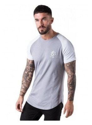 Taped Contrast Tee Shirt Silver Grey/white