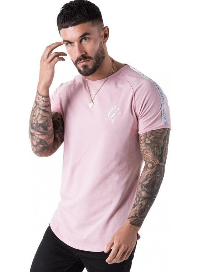 GYM KING Taped Longline Tee Shirt Peachskin
