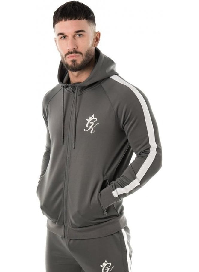 GYM KING Tapered Poly Tracksuit Top Grey/white