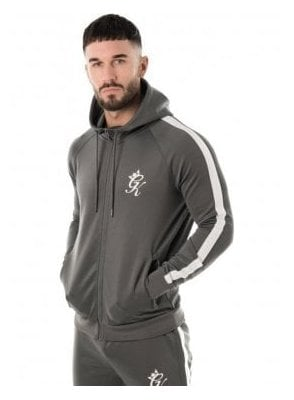 Tapered Poly Tracksuit Top Grey/white