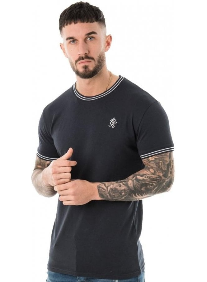 GYM KING Tipped Tee Ribbed Neck & Cuff Navy Nights