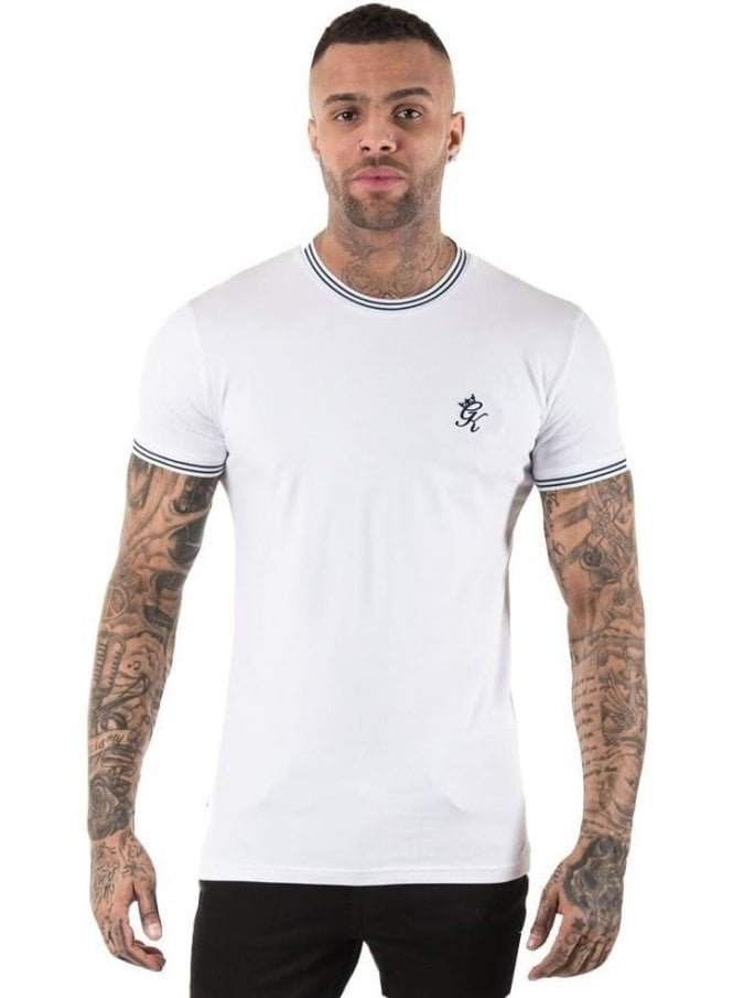 GYM KING Tipped Tee Ribbed Neck & Cuff White