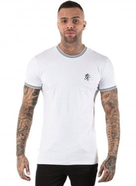 Tipped Tee Ribbed Neck & Cuff White