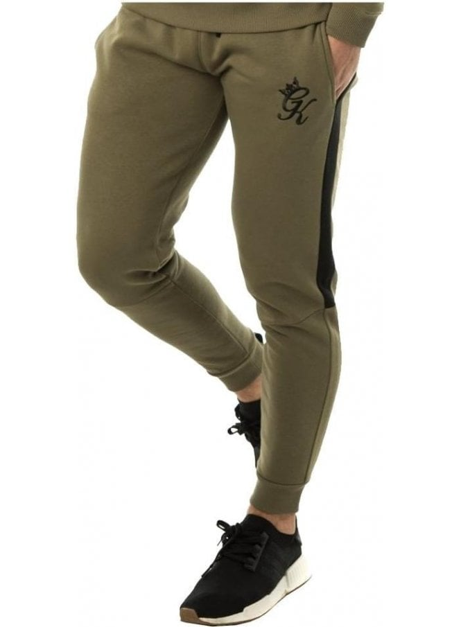 GYM KING Tracksuit Bottom Stripe Olive/black