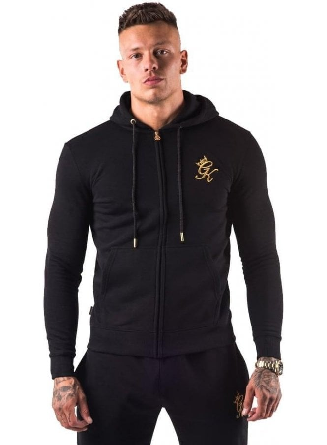 GYM KING Tracksuit Core Range Zip Top Hoodie Black/gold