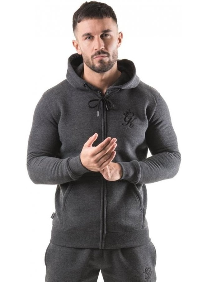 GYM KING Tracksuit Zip Top Charcoal Marl