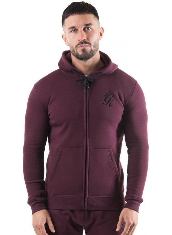 GYM KING Tracksuit Zip Top Hoodie Wine