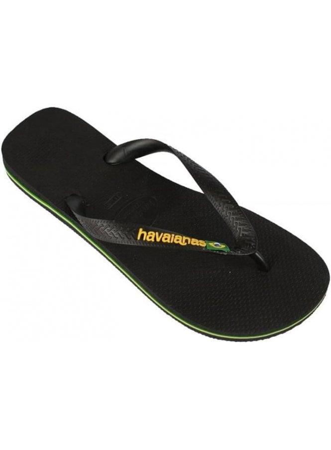 HAVAIANAS H Brasil Logo Flip Flops Black