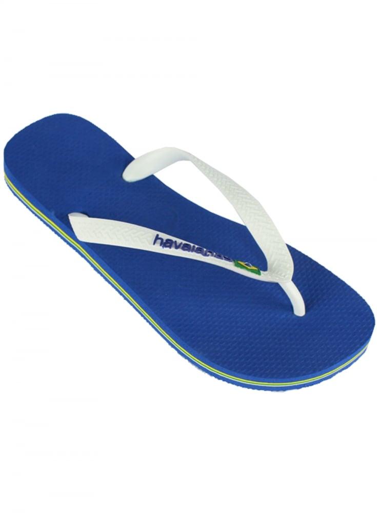 47026cf6a94a Havaianas H Brasil Logo Flip Flops Marine Blue