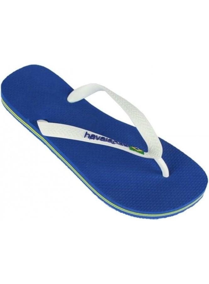 HAVAIANAS H Brasil Logo Flip Flops Marine Blue