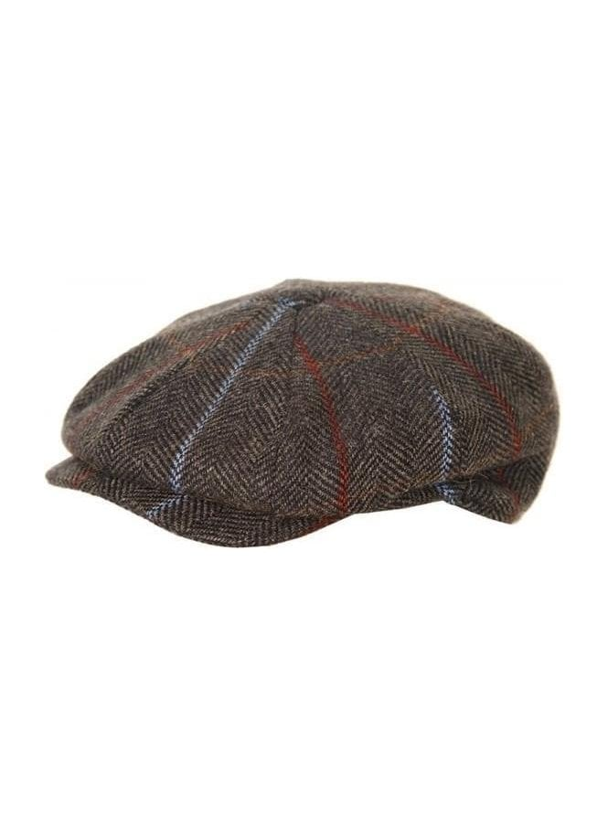 HAWKINS Adults Unisex Tweed Panel Peaky Blinders Cap Grey