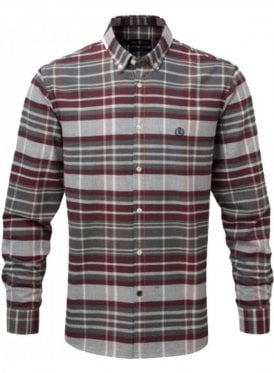 Abberton Regular Long Sleeved Check Sh Burgundy/grey