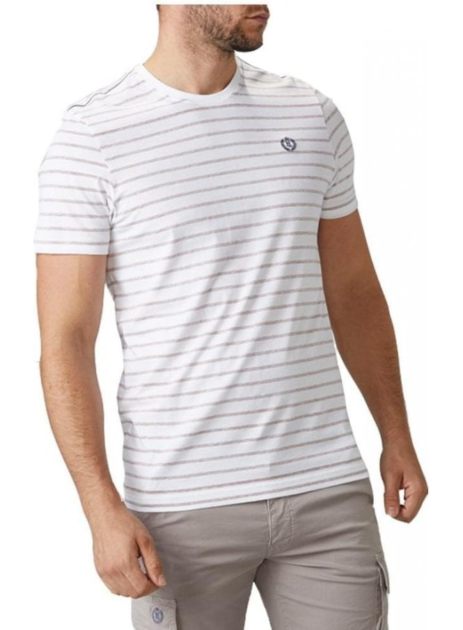 HENRI LLOYD Bretton Stripe Crew Neck Tshirt White/pink